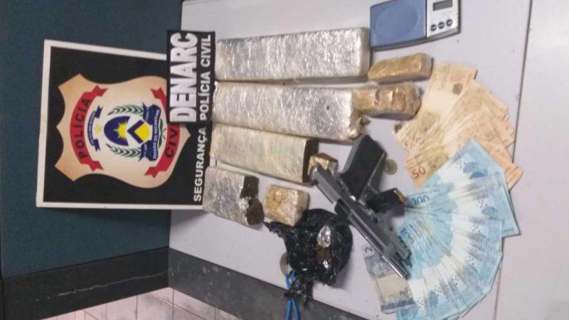 Suspeito de tráfico é preso e 5kg de drogas e uma arma são apreendidas em Araguaína